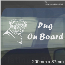 1 x Pug Dog On Board Sticker-Car,Van-Window Sign